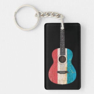 Aged and Worn Luxembourg Flag Acoustic Guitar, bla Keychain