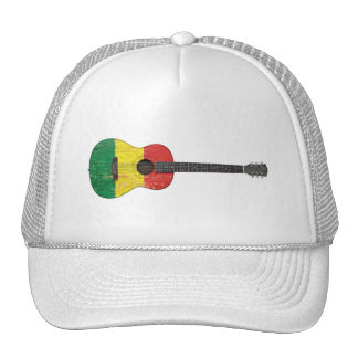 Aged and Worn Mali Flag Acoustic Guitar Trucker Hats