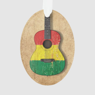 Aged and Worn Mali Flag Acoustic Guitar Ornament