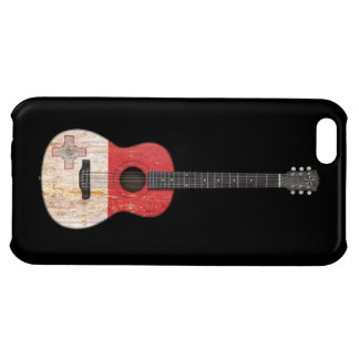 Aged and Worn Maltese Flag Acoustic Guitar, black iPhone 5C Covers