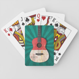 Aged and Worn Maltese Flag Acoustic Guitar teal Poker Cards