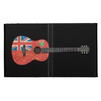 Aged and Worn Manitoba Flag Acoustic Guitar, black iPad Folio Cover