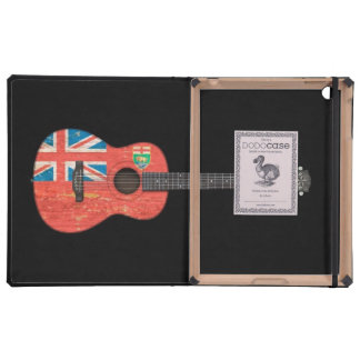 Aged and Worn Manitoba Flag Acoustic Guitar, black Cases For iPad