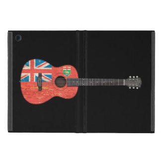 Aged and Worn Manitoba Flag Acoustic Guitar, black Cover For iPad Mini