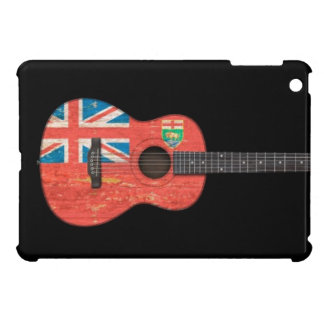 Aged and Worn Manitoba Flag Acoustic Guitar, black iPad Mini Cases