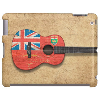 Aged and Worn Manitoba Flag Acoustic Guitar