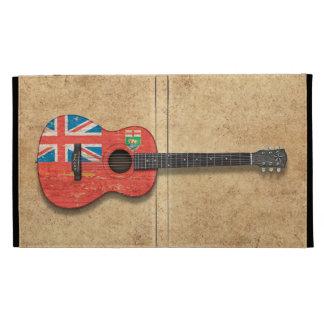 Aged and Worn Manitoba Flag Acoustic Guitar iPad Folio Case