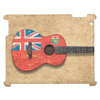 Aged and Worn Manitoba Flag Acoustic Guitar Case For The iPad