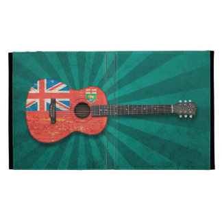 Aged and Worn Manitoba Flag Acoustic Guitar, teal iPad Folio Cases
