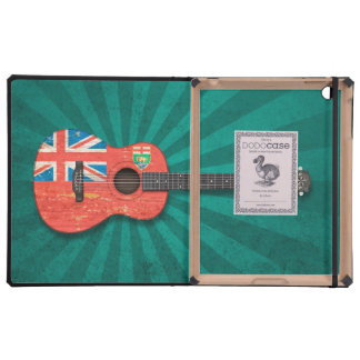 Aged and Worn Manitoba Flag Acoustic Guitar, teal iPad Cases