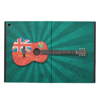Aged and Worn Manitoba Flag Acoustic Guitar, teal iPad Air Covers