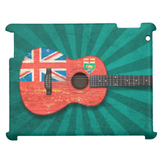 Aged and Worn Manitoba Flag Acoustic Guitar, teal iPad Covers