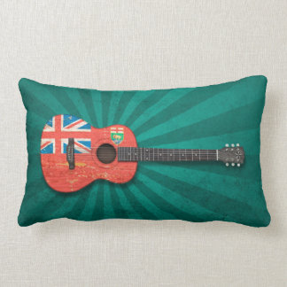 Aged and Worn Manitoba Flag Acoustic Guitar, teal Lumbar Pillow