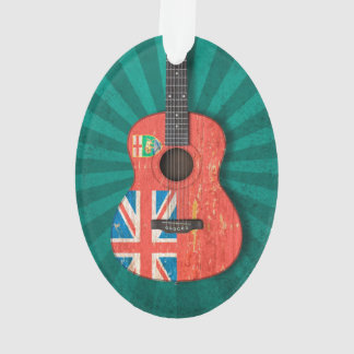 Aged and Worn Manitoba Flag Acoustic Guitar, teal Ornament