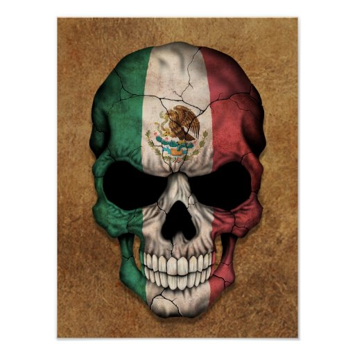 Aged and Worn Mexican Flag Skull Poster