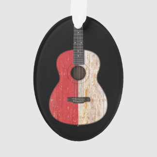Aged and Worn Monaco Flag Acoustic Guitar, black Ornament