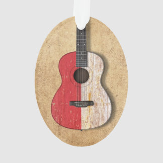 Aged and Worn Monaco Flag Acoustic Guitar Ornament