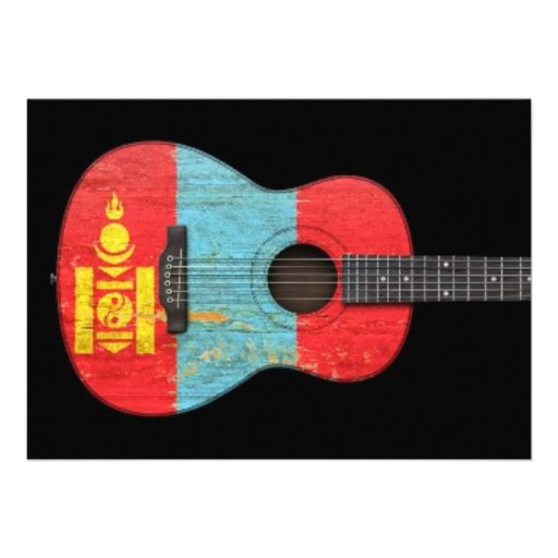 Aged and Worn Mongolian Flag Acoustic Guitar, blac Cards