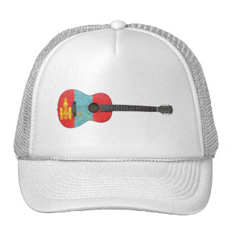 Aged and Worn Mongolian Flag Acoustic Guitar Trucker Hat