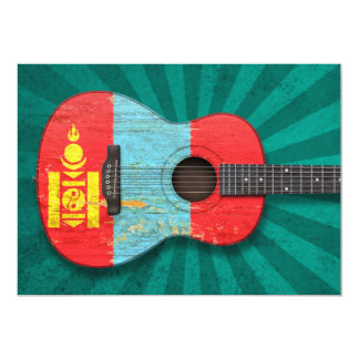 Aged and Worn Mongolian Flag Acoustic Guitar, teal Card