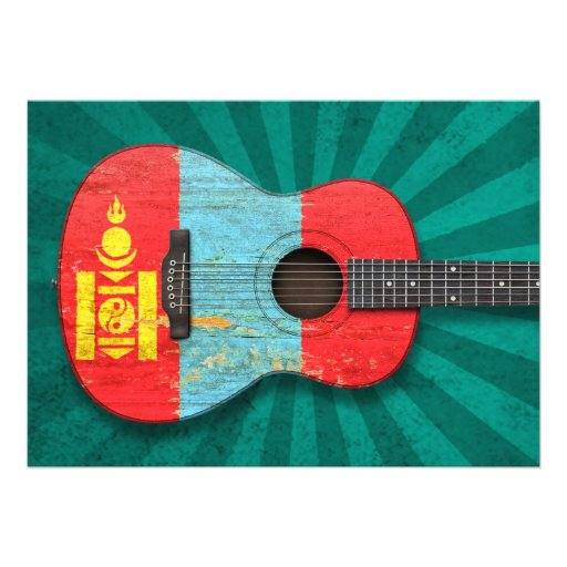 Aged and Worn Mongolian Flag Acoustic Guitar, teal Invites