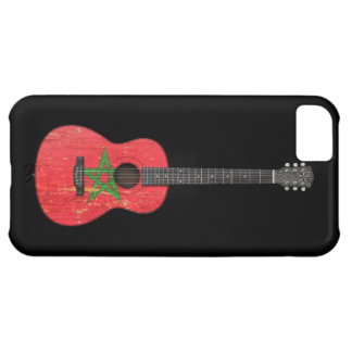 Aged and Worn Moroccan Flag Acoustic Guitar, black iPhone 5C Cases
