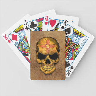 Aged and Worn New Mexico Flag Skull Bicycle Card Decks
