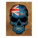 Aged and Worn New Zealand Flag Skull Postcard