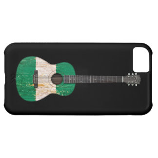 Aged and Worn Nigerian Flag Acoustic Guitar, black iPhone 5C Case