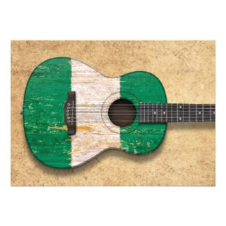 Aged and Worn Nigerian Flag Acoustic Guitar Invitations