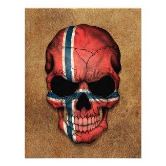 Aged and Worn Norwegian Flag Skull Custom Invitations