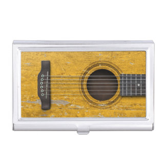 Aged and Worn Old Acoustic Guitar Business Card Case