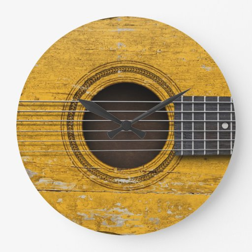Aged and Worn Old Acoustic Guitar Wallclocks