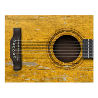 Aged and Worn Old Acoustic Guitar Postcard