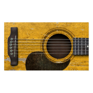Aged and Worn Old Acoustic Guitar with Pickguard Business Card