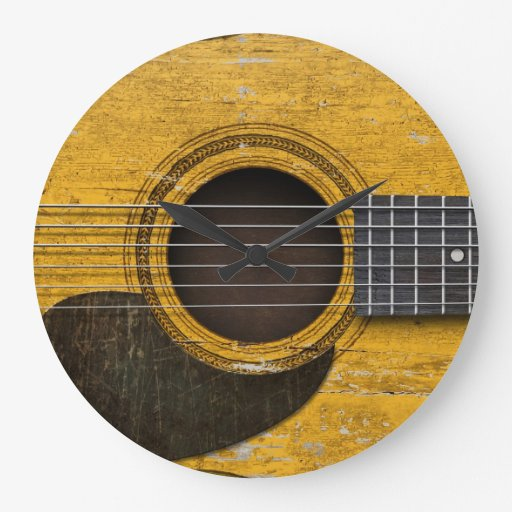 Aged and Worn Old Acoustic Guitar with Pickguard Wall Clock