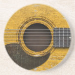 Aged and Worn Old Acoustic Guitar with Pickguard Beverage Coaster