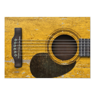 Aged and Worn Old Acoustic Guitar with Pickguard Invites