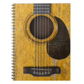 Aged and Worn Old Acoustic Guitar with Pickguard Spiral Notebook