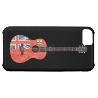 Aged and Worn Ontario Flag Acoustic Guitar, black iPhone 5C Cover