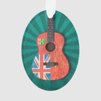 Aged and Worn Ontario Flag Acoustic Guitar, teal Ornament