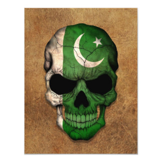 Aged and Worn Pakistani Flag Skull 4.25x5.5 Paper Invitation Card