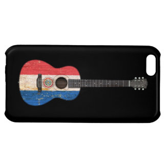Aged and Worn Paraguay Flag Acoustic Guitar, black iPhone 5C Case
