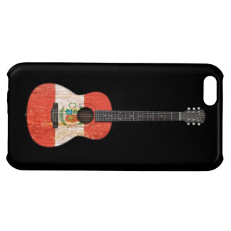 Aged and Worn Peruvian Flag Acoustic Guitar, black iPhone 5C Cover