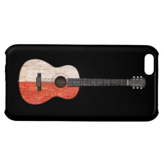 Aged and Worn Polish Flag Acoustic Guitar, black iPhone 5C Cover