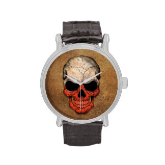 Aged and Worn Polish Flag Skull Watches