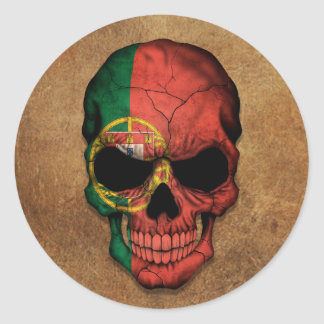 Aged and Worn Portuguese Flag Skull Round Sticker