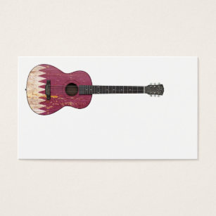 Qatar business cards templates zazzle aged and worn qatar flag acoustic guitar business card reheart Image collections