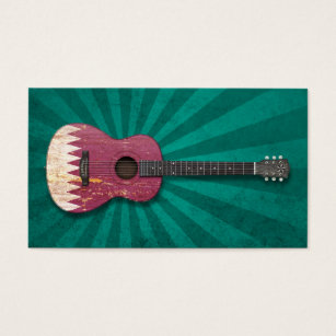 Qatar business cards templates zazzle aged and worn qatar flag acoustic guitar teal business card reheart Image collections