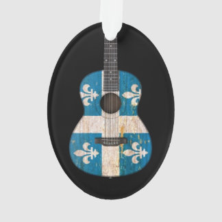 Aged and Worn Quebec Flag Acoustic Guitar, black